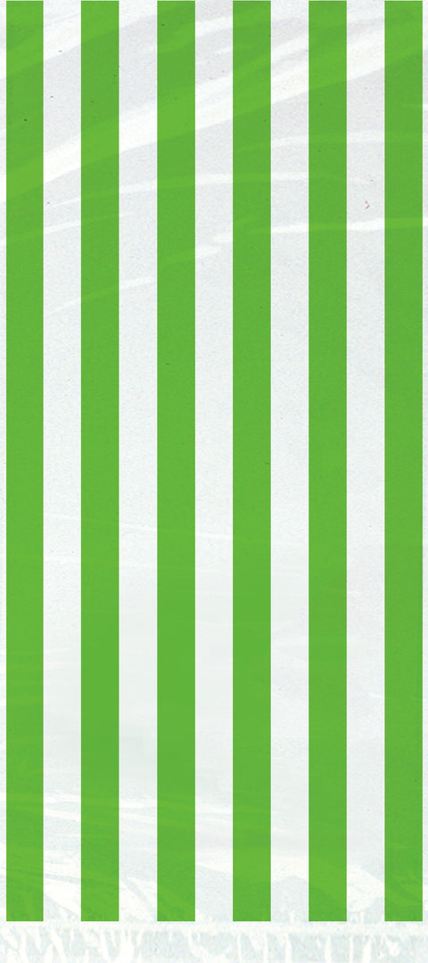 20 Lime Green Striped Cellophane Bags