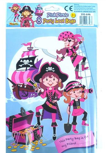 8 Pink Pirate Empty Party Bags