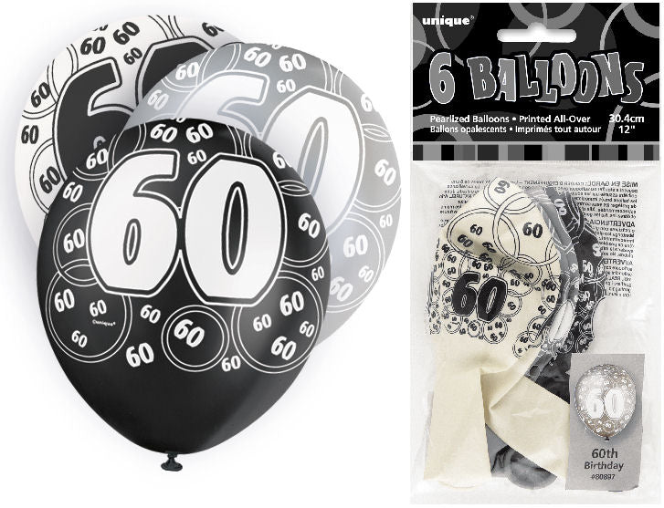 6 Black 60th Glitz Latex Balloons