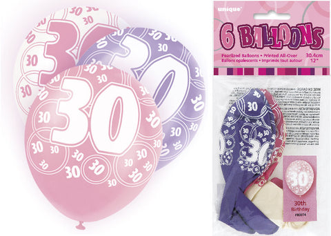 6 Pink 30th Glitz Latex Balloons