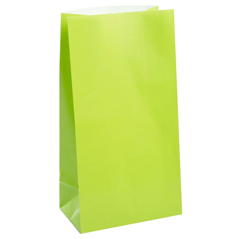 12 Lime Green Paper Gift Bags - Party Perfecto