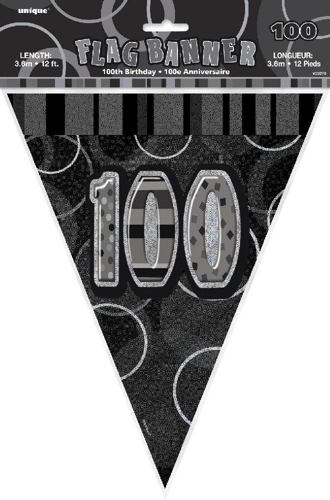 100th Black Glitz Bunting - Party Perfecto