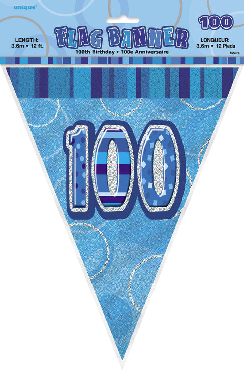 100th Blue Glitz Bunting - Party Perfecto