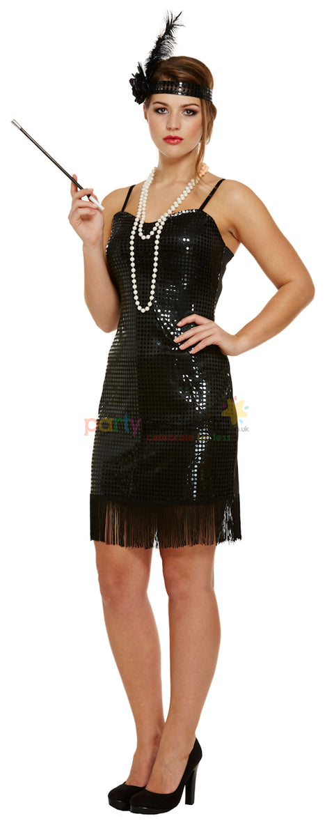 Black Squin Flapper Dress Costume