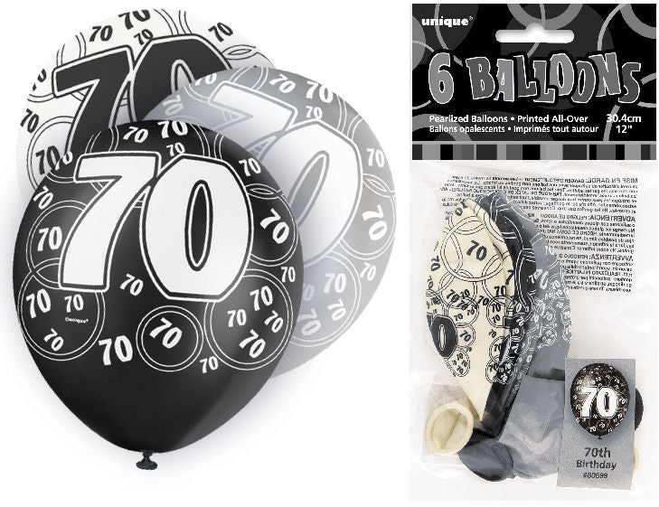 6 Black 70th Glitz Latex Balloons