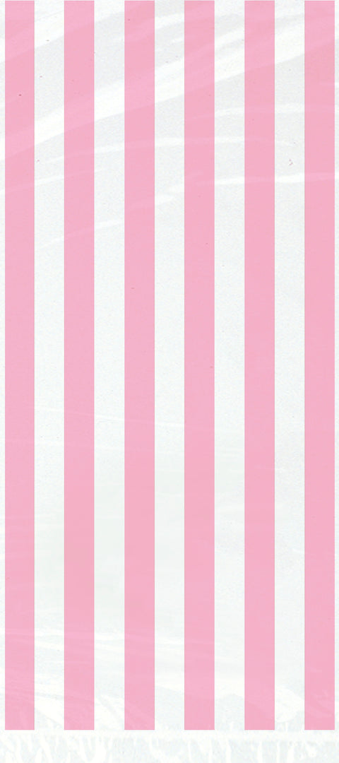 20 Lovely Pink Striped Cellophane Bags