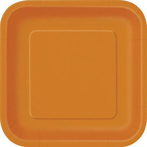 "16 Orange Square 7"" Plates - Party Perfecto"