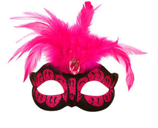 Neon Pink Mask With Feathers