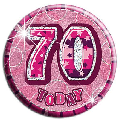 70 Today - Pink Big Badge - Party Perfecto