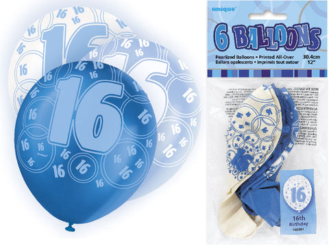 6 Blue 16th Glitz Latex Balloons