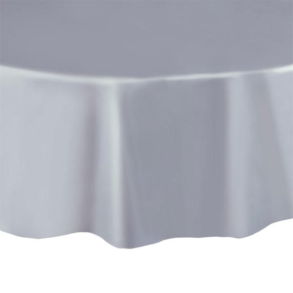 "Silver Round 84"" Plastic Tablecover - Party Perfecto"