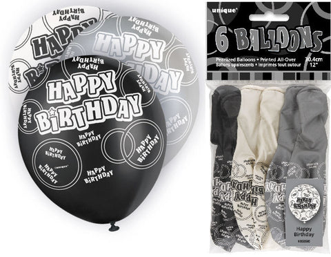 6 Happy Birthday Black Glitz Latex Balloons