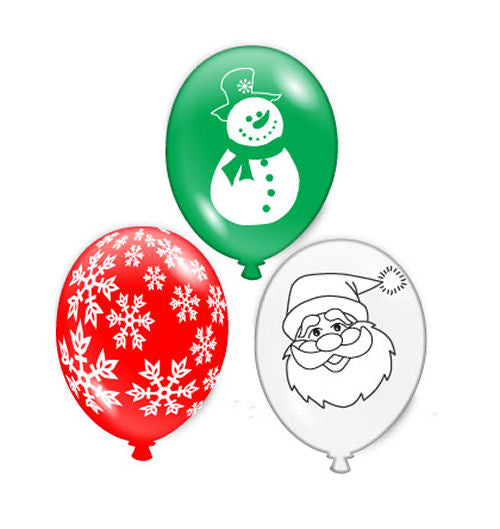 15 Christmas Latex Balloons - Party Perfecto