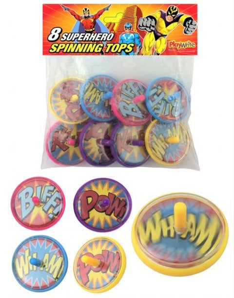 8 Super Hero Spinning Tops