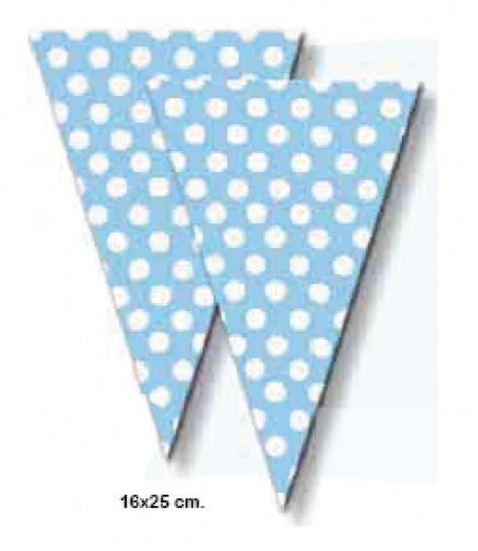 6 Blue Polka Dot Sweet Cones