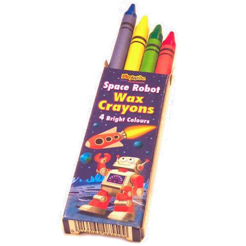 6 Packets Of Space Robot Wax Crayons