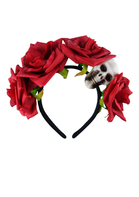 Red Rose & Skull Headband - Party Perfecto