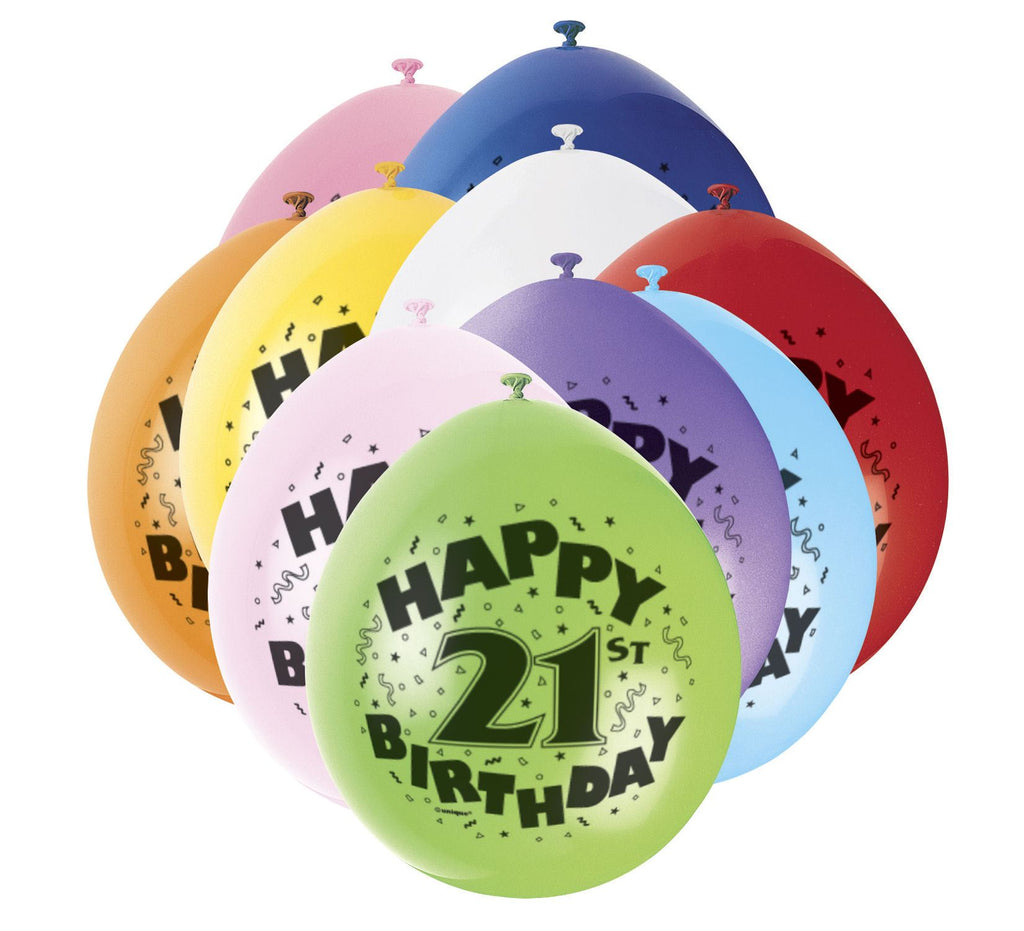 21st Birthday Latex Balloons - 10 Pack - Party Perfecto