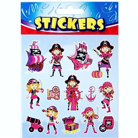 6 Pink Pirate Sticker Sheets