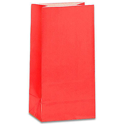 12 Ruby Red Paper Gift Bags - Party Perfecto