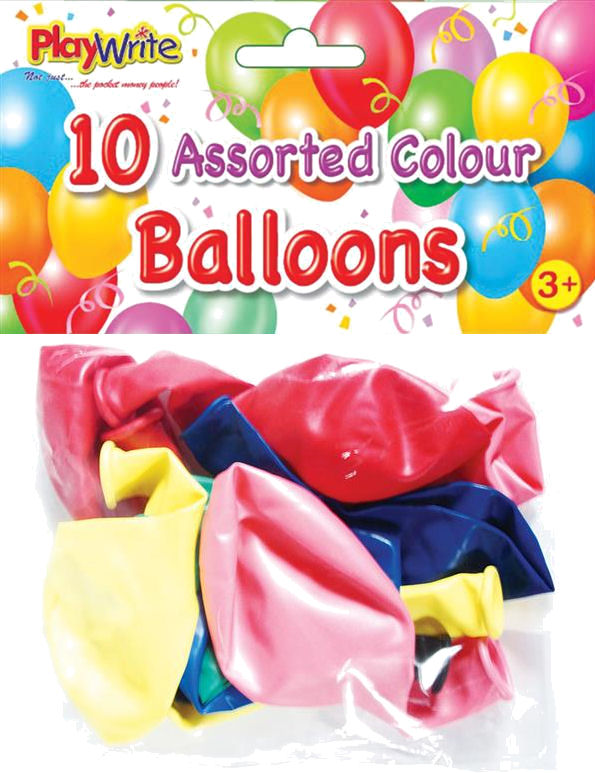 10 Assorted Coloured Balloons