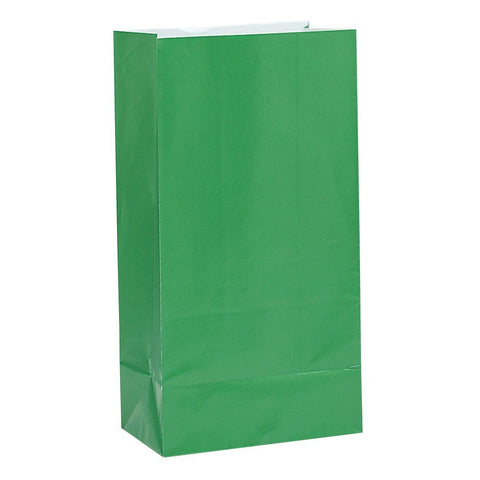 12 Emerald Green Paper Gift Bags - Party Perfecto