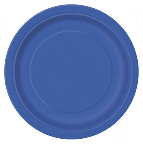 "20 Royal Blue Round 7"" Paper Plates"