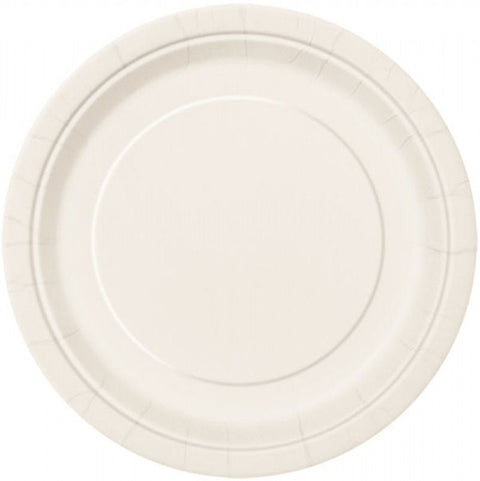"20 Ivory Round 7"" Paper Plates"
