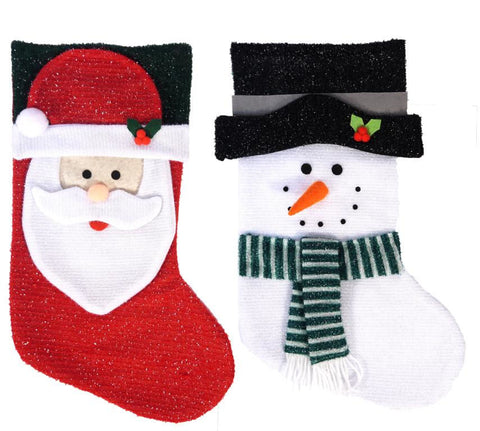 Santa Or Snowman Glitter Christmas Stocking