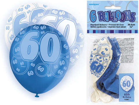 6 Blue 60th Glitz Latex Balloons