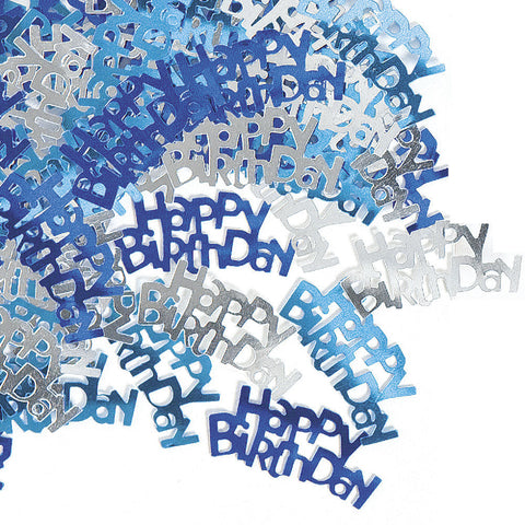 Happy Birthday Blue Glitz Confetti