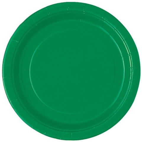 "20 Emerald Green Round 7"" Paper Plates"