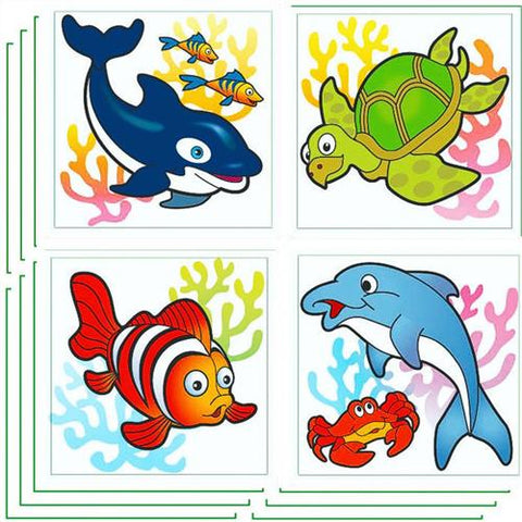 6 Sealife Temporary Glitter Tattoos