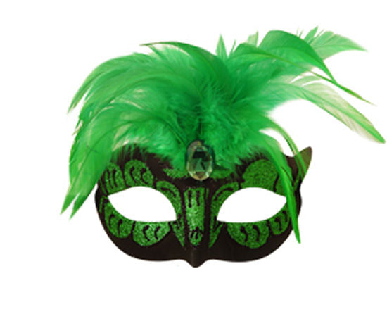 Neon Green Mask With Feathers