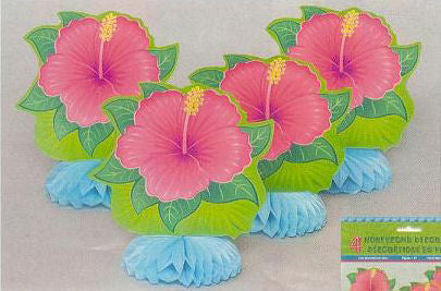 4 Tropical Bloom Honeycomb Table Decorations