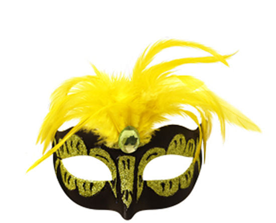 Neon Yellow Mask With Feathers