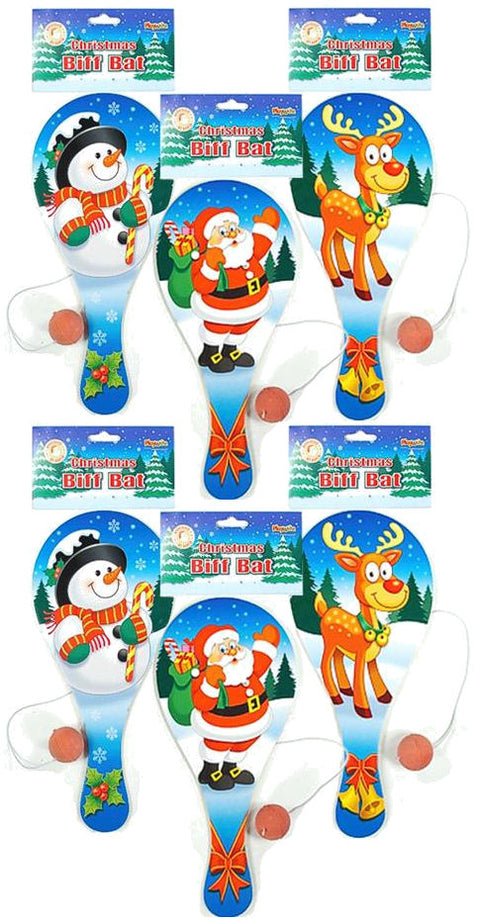 6 Christmas Wooden Paddle Bats