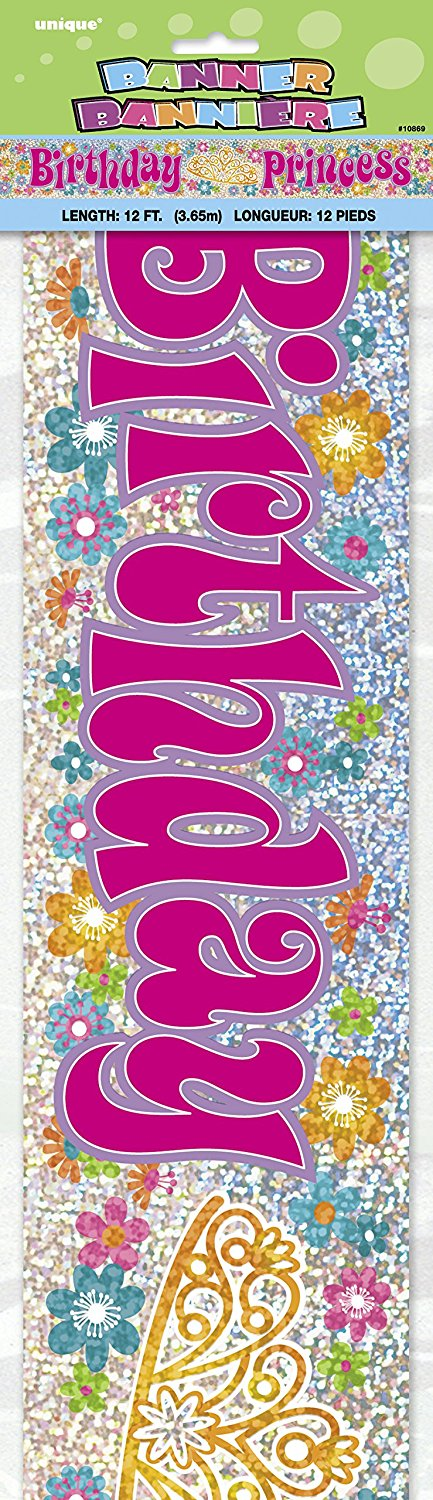 Birthday Princess 12ft Holographic Foil Banner