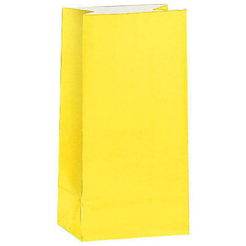 12 Yellow Paper Gift Bags