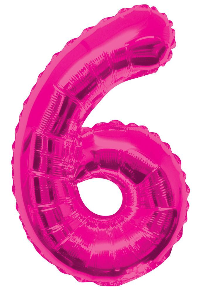 "6 - Pink 34"" Numeral Balloon - Party Perfecto"