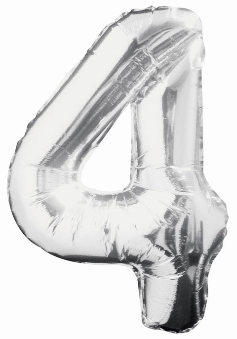 "4 - Silver 34"" Numeral Balloon - Party Perfecto"