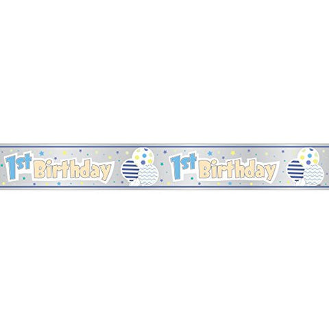 Blue 1st Birthday 12ft Foil Banner