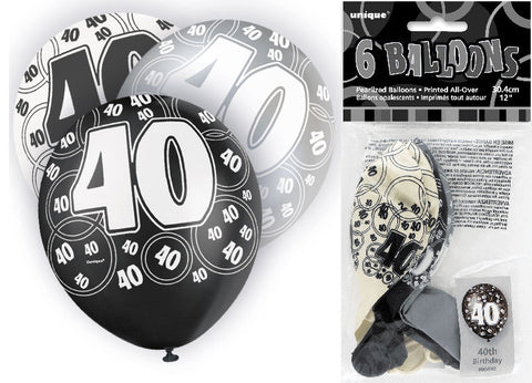 6 Black 40th Glitz Latex Balloons