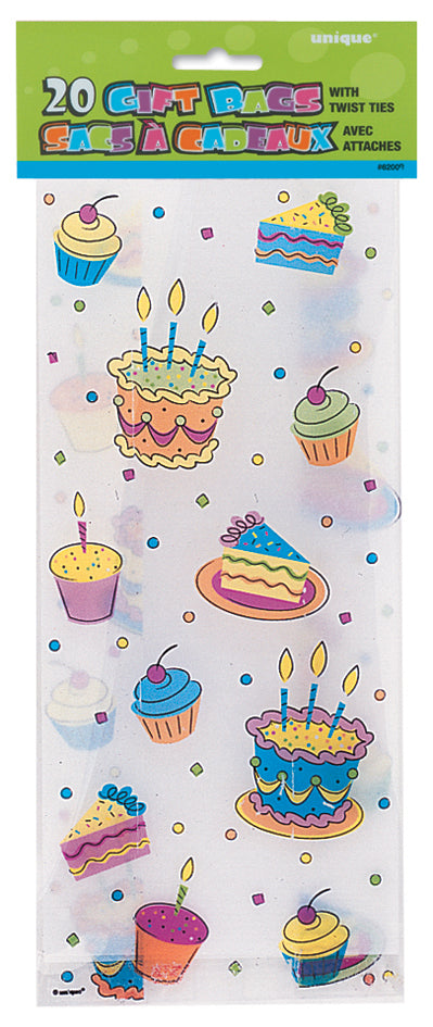 20 Party Treats Cellophane Gift Bags