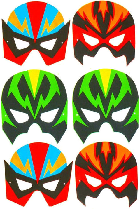 6 Foam Super Hero Masks