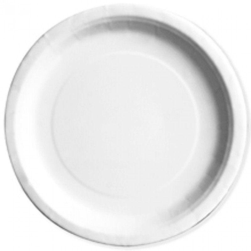 "16 White Round 9"" Paper Plates - Party Perfecto"