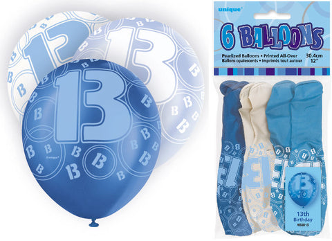 6 Blue 13th Glitz Latex Balloons