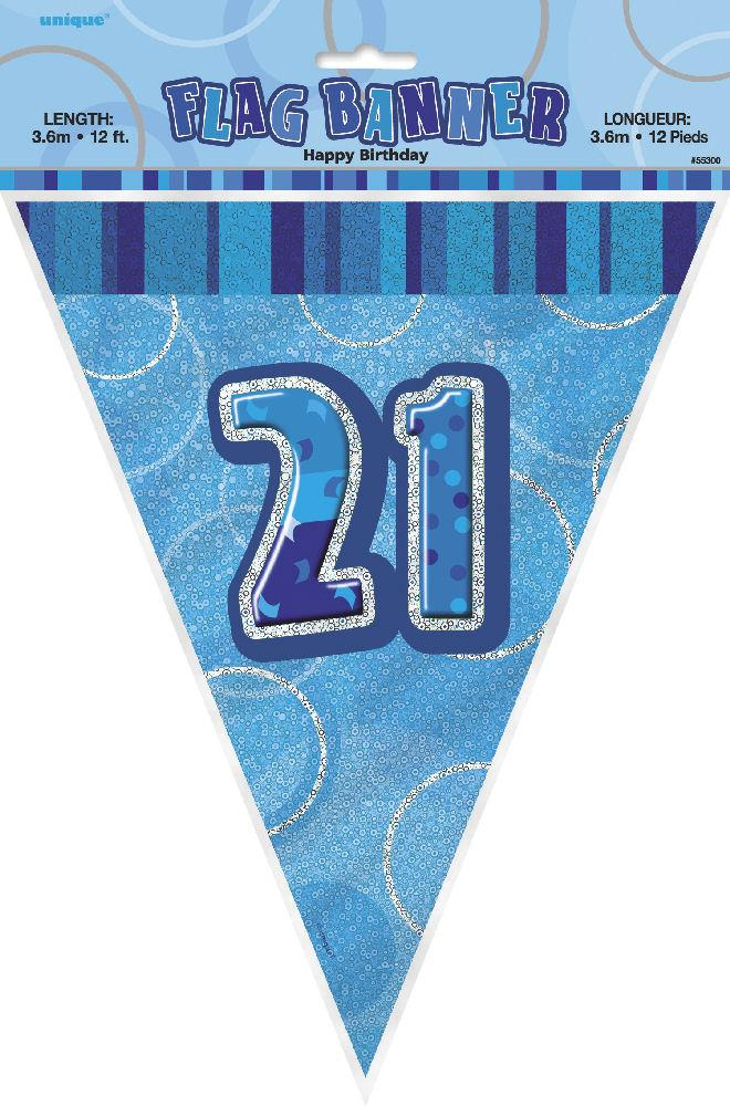 21st Blue Glitz Bunting - Party Perfecto
