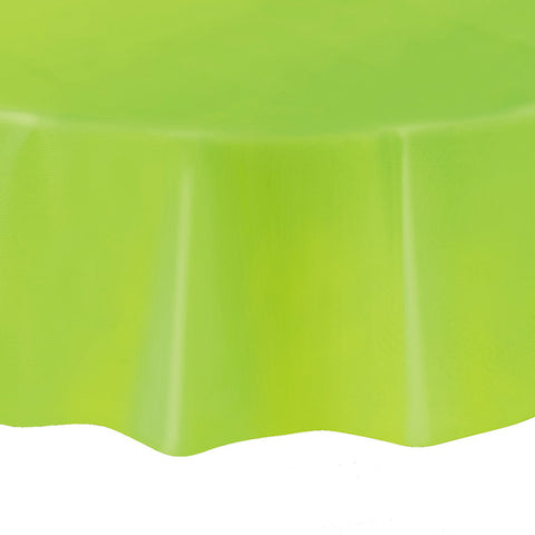 "Lime Green Round 84"" Plastic Tablecover"