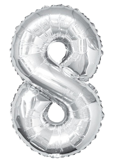 "8 - Silver 34"" Numeral Balloon - Party Perfecto"